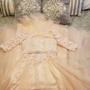 Hebeos petal pink wedding dress sz 8 NEW